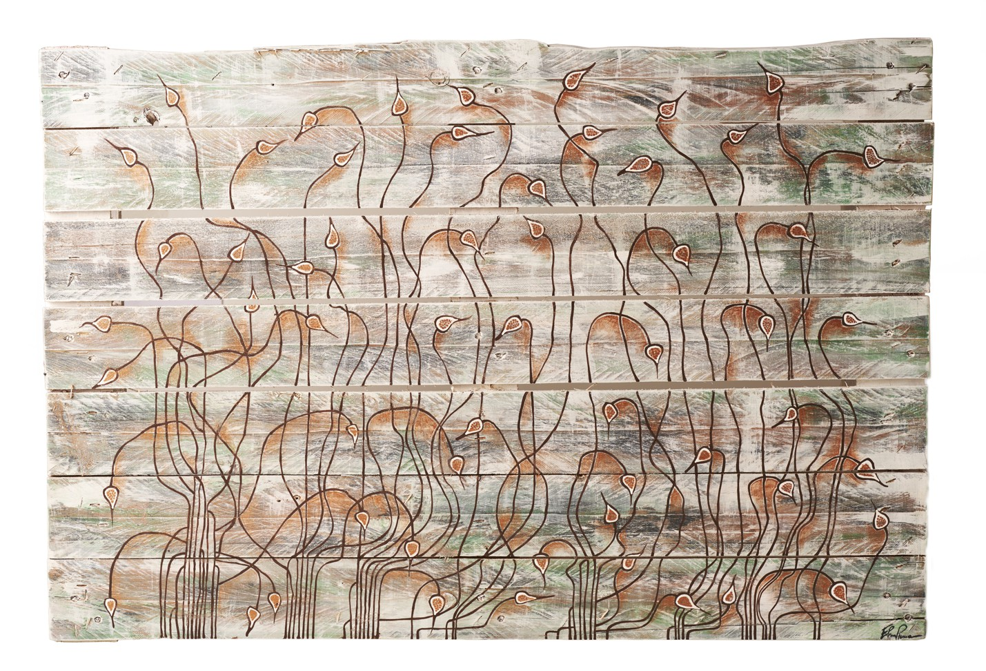 2021 Transformed pallet, sage leaves worked with hot glue, wax and acrylic colour. Size cm89x59x14